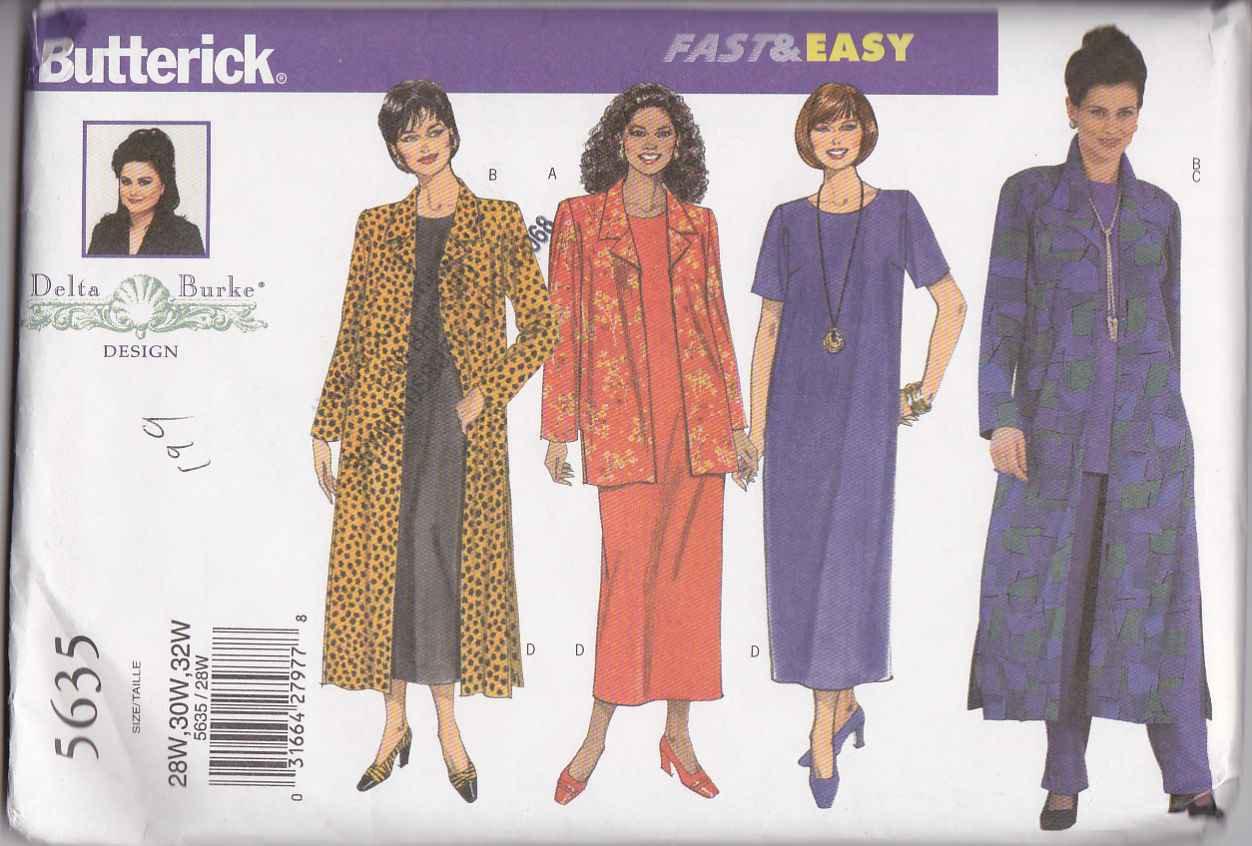 Butterick Sewing Pattern 5635 Womans Plus Size 28W-32W Easy Wardrobe Jacket Duster Dress Top Pants