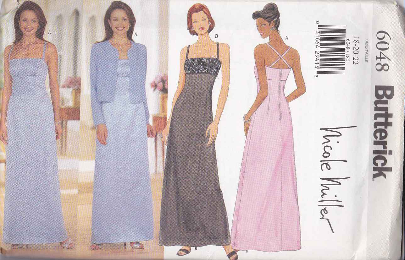 Butterick Sewing Pattern 6048 Misses Size 18-22 Easy Formal Raised Waist Dress Evening Jacket