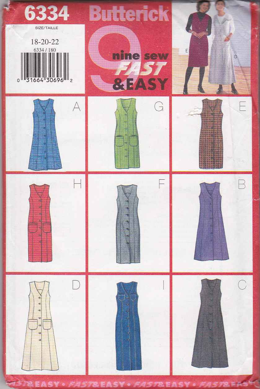 Butterick Sewing Pattern 6334 Misses Size 18-22 Easy Straight Flared Button Front Jumper