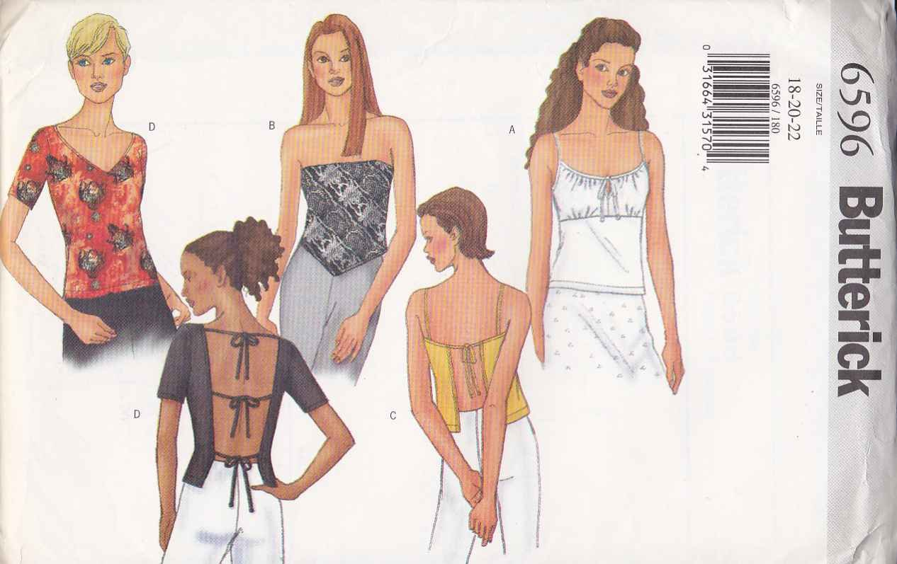 Butterick Sewing Pattern 6596 Misses Size 18-22 Easy Suntops Tops Sleeve Back Options