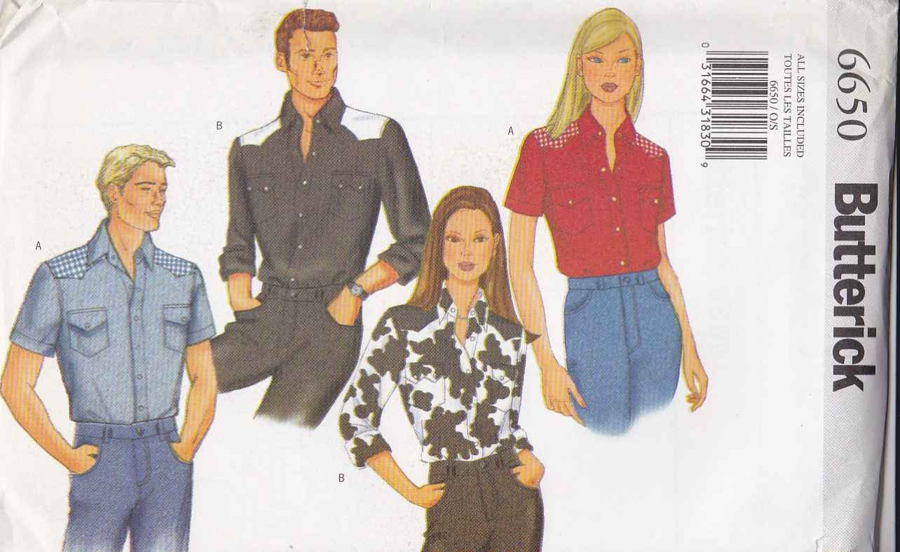 Butterick Sewing Pattern 6650 Mens Misses Unisex All Sizes Western Style Shirt Short Long Sleeves