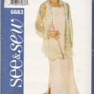 Butterick Sewing Pattern 6683 Misses Size 20-24 Easy Sleeveless Dress Sheer Overshirt
