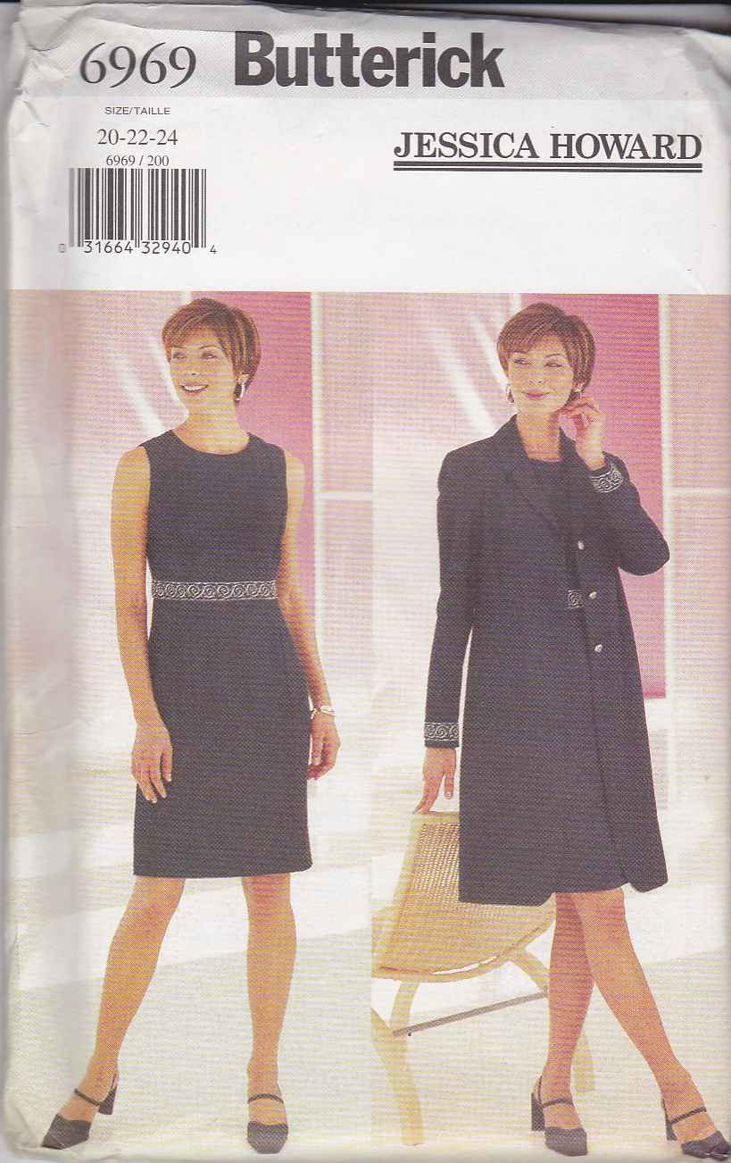 Butterick Sewing Pattern 6969 Misses Size 20-24 Easy Classic Sleeveless Dress Jacket Duster