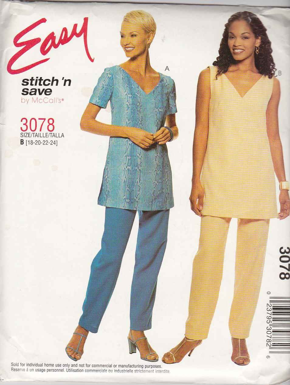 McCall's Sewing Pattern 3078 Misses Size 18-24 Easy Short Sleeve Sleeveless Pullover Top Pants
