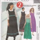 McCall's Sewing Pattern 3291 Misses Size 16-22 Raised Waist Jumper Sleeveless Dress