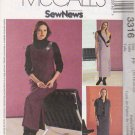 McCall's Sewing Pattern 3316 Misses Size 16-22 Straight Sleeveless Dress Jumper Shirt-Jacket