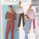 McCall's Sewing Pattern 3684 Misses Size 16-22 Button Front Peasant Tops Cropped Capri Pants