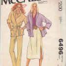 McCall's Sewing Pattern 6496 Misses Size 10 Easy Wrap Front Jacket Straight Skirt Pants