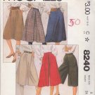 McCall's Sewing Pattern 8240 Misses Size 8 A-Line Pleated Skirts Culottes Split-Skirt Gauchos