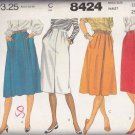 McCall's Sewing Pattern 8424 Misses Size 10  Pleated A-Line Side Front Button Skirts