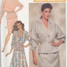 Butterick Sewing Pattern 3123 Misses Size 10 Long Sleeve Pleated Peplum Top Straight Flared Skirt