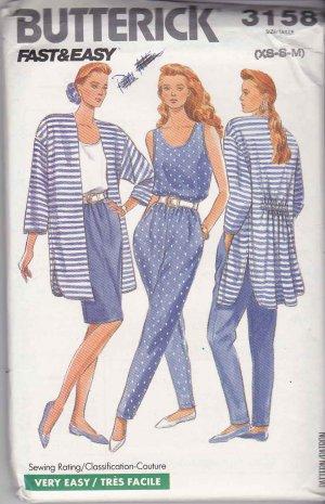 Butterick Sewing Pattern 3158 Misses Size 6-14 Summer Wardrobe Pants Skirt Tank Top Jacket