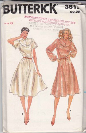 Butterick Sewing Pattern 3612 B3612 Misses Size 8 Pullover Flared Skirt Dress Round Yoke