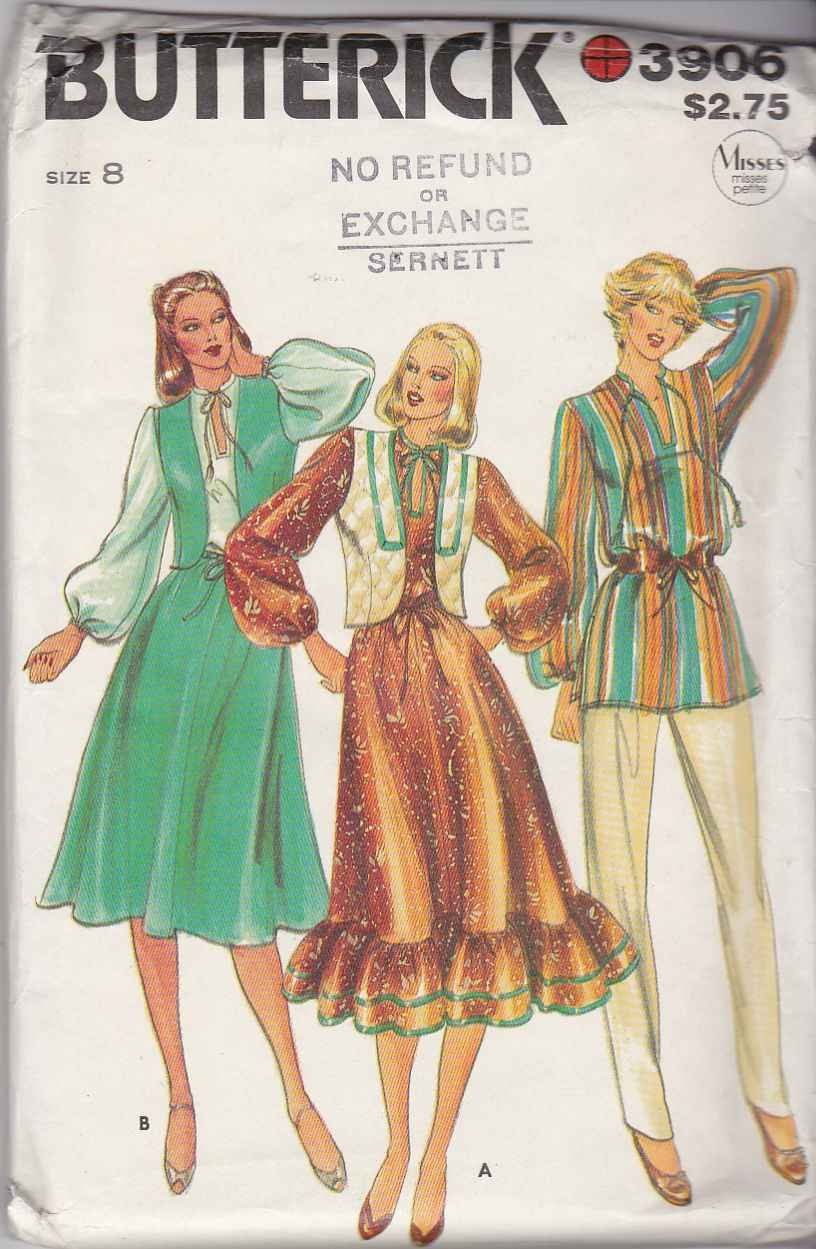 Butterick Sewing Pattern 3906 Misses Size 8 Boho Full ...