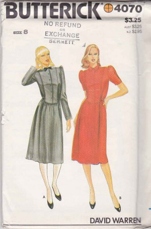 Butterick Sewing Pattern 4070 Misses Size 8 David Warren Dress Button Front Sleeve Options
