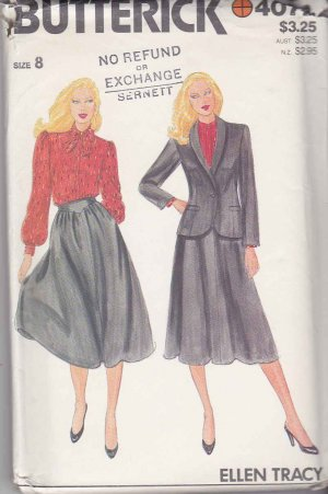Butterick Sewing Pattern 4072 Misses Size 8 Ellen Tracy Suit Skirt Lined Shawl Collar Jacket Blouse