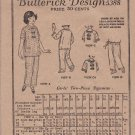 Vintage 1923 Butterick Sewing Pattern 5388 Girls Size 8 Two-Piece Pajamas Top Pants Deltor