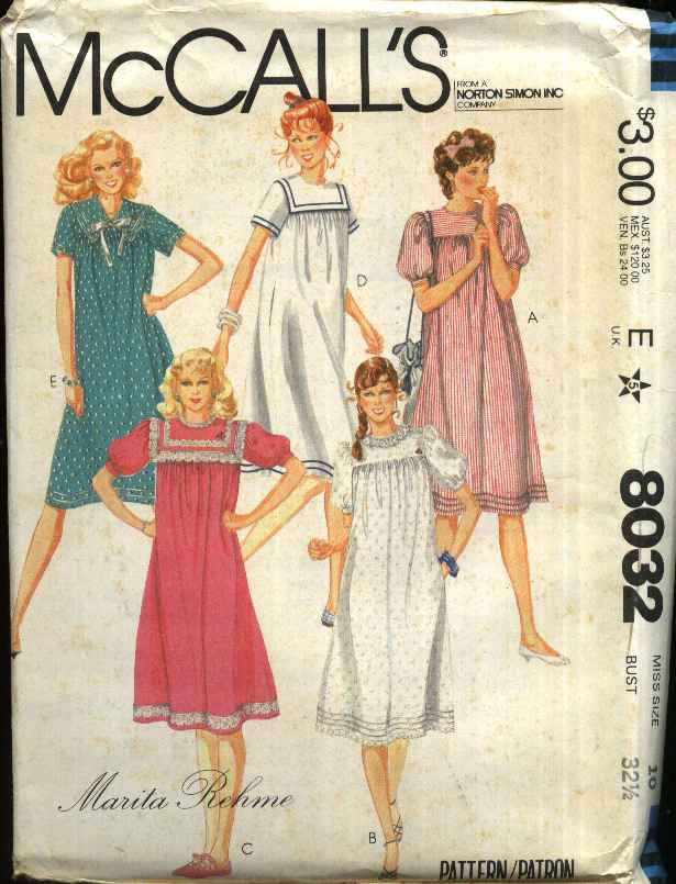 McCall�s Sewing Pattern 8032 M8032 Misses Size 16 Loose Fitting Yoke Dress Early Maternity