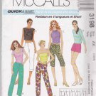 McCalls Sewing Pattern 3198 Misses Size 4-8 Easy Low Rise Pants in Four Lengths Shorts Front Zipper