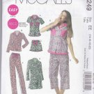 McCalls Sewing Pattern 6249 Misses Size 14-20 Easy Tops Nightgown Nightshirt Shorts Pajama Pants