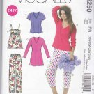 McCalls Sewing Pattern 6250 Womens Plus Size 18W-24W Easy Tops Nightgown Nightshirt Pajama Pants