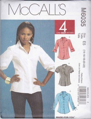 McCalls Sewing Pattern 6035 Misses Size 14-22 Easy Princess Seams Button Front Shirt Sleeve Option
