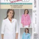 McCalls Sewing Pattern 6076 Misses Size 16-22 Classic Fit Princess Seam Front Button Shirt Blouse