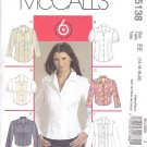 McCall's Sewing Pattern 5138 Misses Size 14-20 Classic Easy Button Front Blouse Shirt Sleeve Options