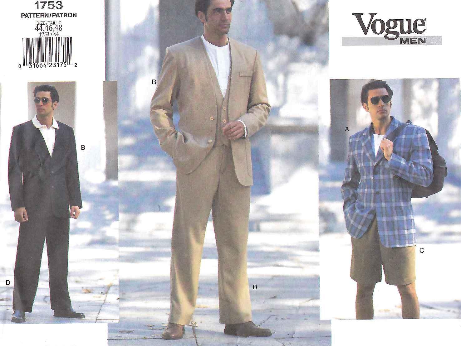 Vogue Sewing Pattern 1753 Mens Size 32-34-26 Jacket Vest Shorts Pants Trousers Sportscoat Suit