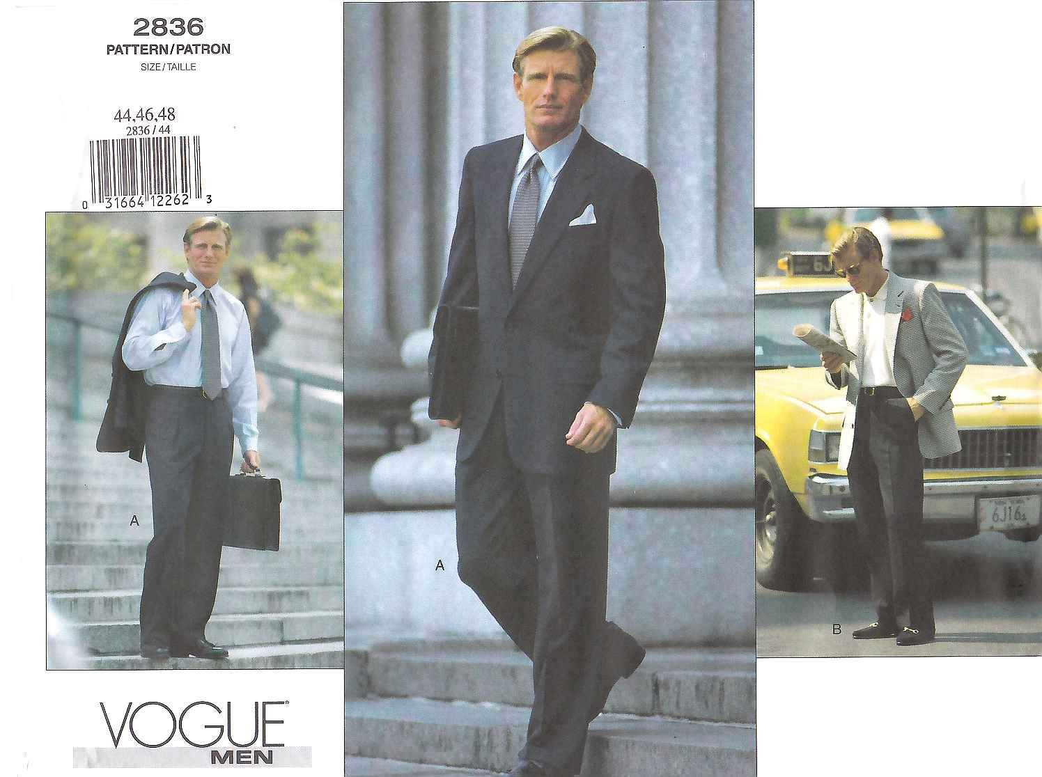 Vogue Sewing Pattern 2836 Mens Size 44-46-48 Jacket Pants Suit Sportscoat