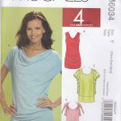 McCall's Sewing Pattern 6034 Misses Size 16-22 Knit Tunics Neckline Sleeve Side Seam Options