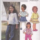 Butterick Sewing Pattern 3956 Girls Size 6-8 Easy Pullover Top Long Pants Gathered Ruffle Hem Skirt