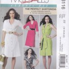 McCall's Sewing Pattern 6116 Misses Size 16-22 Classic Shirtdress Front Button Sleeve Collar Options