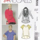 McCall's Sewing Pattern 6205 Misses Size 16-22 Easy Pullover Raglan Sleeve Knit Tops Scarf