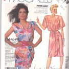 Retro McCall's Sewing Pattern 2519 Misses Size 6-10 Easy Pullover Mock Wrap Dress Sleeve Options