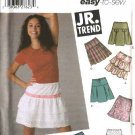 Simplicity Sewing Pattern 5101 Junior Size 11/12 - 15/16 Easy Pleated Gathered Ruffled Mini Skirts
