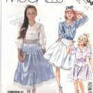 McCall's Sewing Pattern 3454 Girls Size 7-10 Tiered Peasant Skirt Button Front Blouse