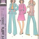 Retro McCall's Sewing Pattern 3465 Misses Size 12 Pantsuit Suit Zipper Front Jacket Pants Skirt