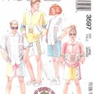 McCall's Sewing Pattern 3597 Unisex Mens Misses Size Small Front Button Shirt Top Shorts Transfer