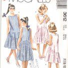 McCall's Sewing Pattern 3612 Girls Size 7 Easy Summer Sleeveless Dress Front Back Button Closure