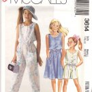 McCall's Sewing Pattern 3614 Girls Size 7 Easy Summer Sleeveless Dress Jumpsuit Romper Sunsuit