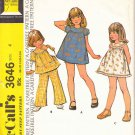Retro McCall's Sewing Pattern 3646 Girls Size 4 Easy Classic Summer Dress Top Pants Sleeve Options