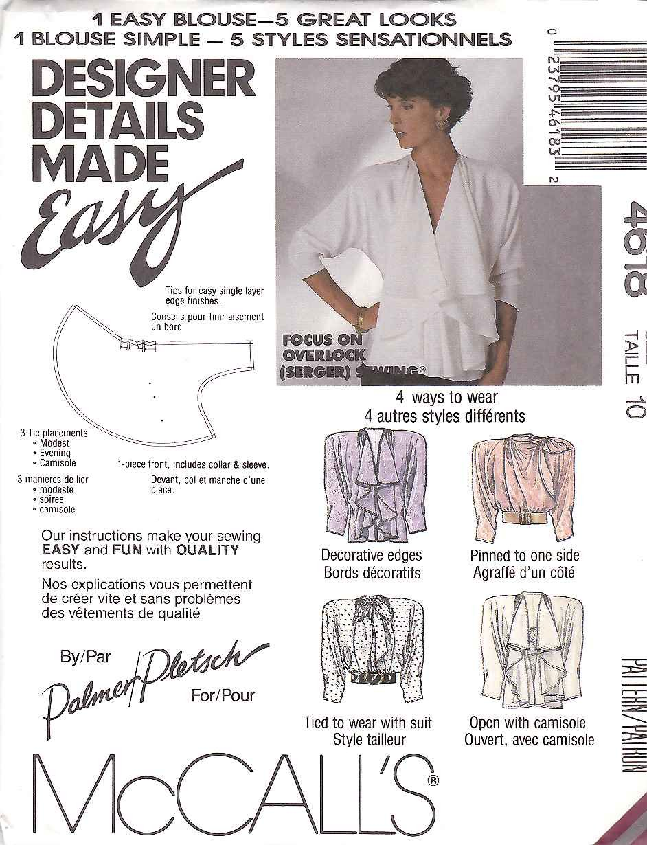 McCall's Sewing Pattern 4618 Misses Size 10 Easy Palmer/Pletsch 5 Styles Blouse
