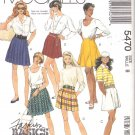 McCall's Sewing Pattern 5470 Misses Size 8 Basic Short Skirts Pleated Gored Tap Shorts Skorts