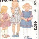 McCall's Sewing Pattern 6673 7590 Girls' Size 2 Classic Pinafore Style Sundress Jumper Blouse