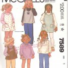McCall's Sewing Pattern 7589 Toddler Girls' Size 3 Classic Jumper Long Sleeve Blouse Dress Top