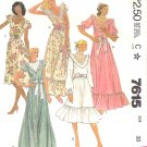 McCall's Sewing Pattern 7615 M7615 Misses Size 10 Pullover Formal Dress Ruffled Hem Neck Options