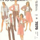 McCall's Sewing Pattern 7876 Misses Size 8 Wardrobe Pleated Skirt Pants Shorts Jacket