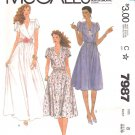 McCall's Sewing Pattern 7987 Misses Size 8 Mock Wrap Pullover Dress Tulip Sleeves Formal