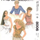 McCall's Sewing Pattern 8006 Misses Size 8 Button Front Drawstring Neckline Camisole Style Top